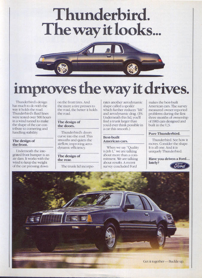 Image for Ford Thunderbird way it looks improves drives ad 1984