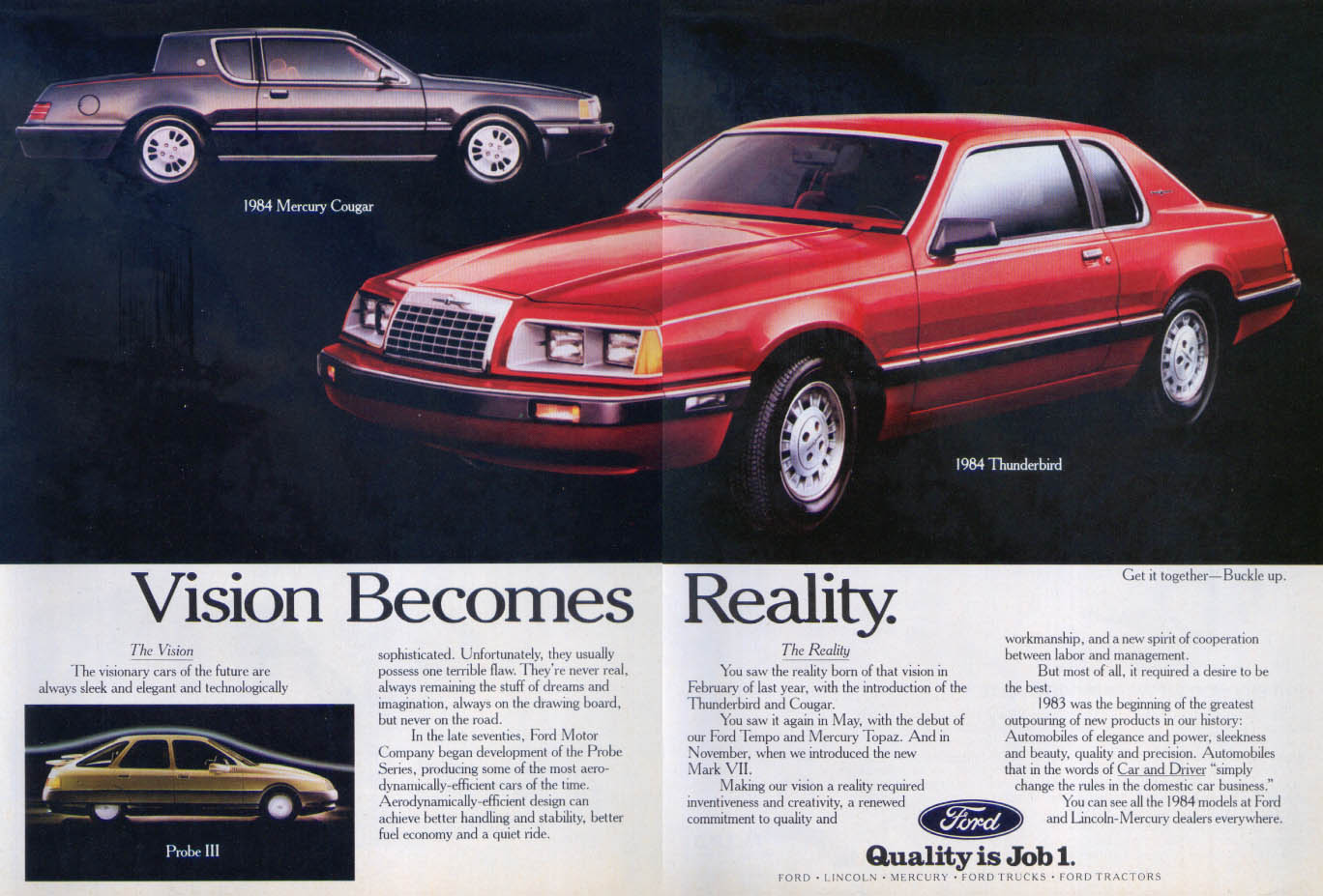 Image for Ford Thunderbird Vision Becomes Reality Probe ad 1984