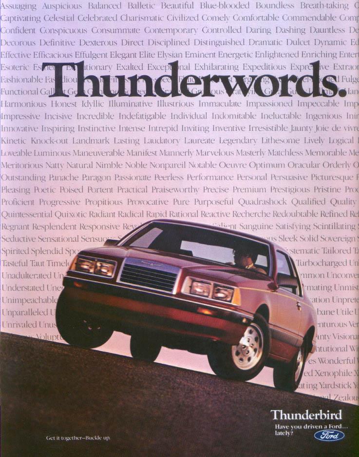 Image for Ford Thunderbird Thunderwords ad 1985