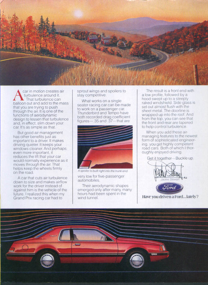Image for Ford Thunderbird trunk spoiler Jackie Stewart ad 1985 Motor Trend