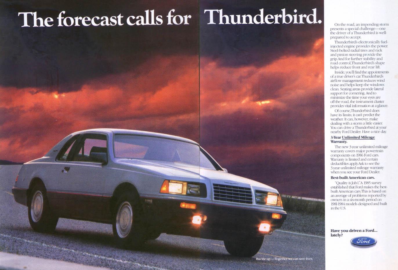 Image for Ford Thunderbird forecast calls for Thunder ad 1986