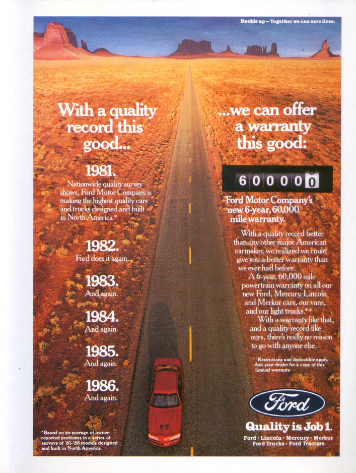 Image for Ford Thunderbird good record good warranty ad 1987