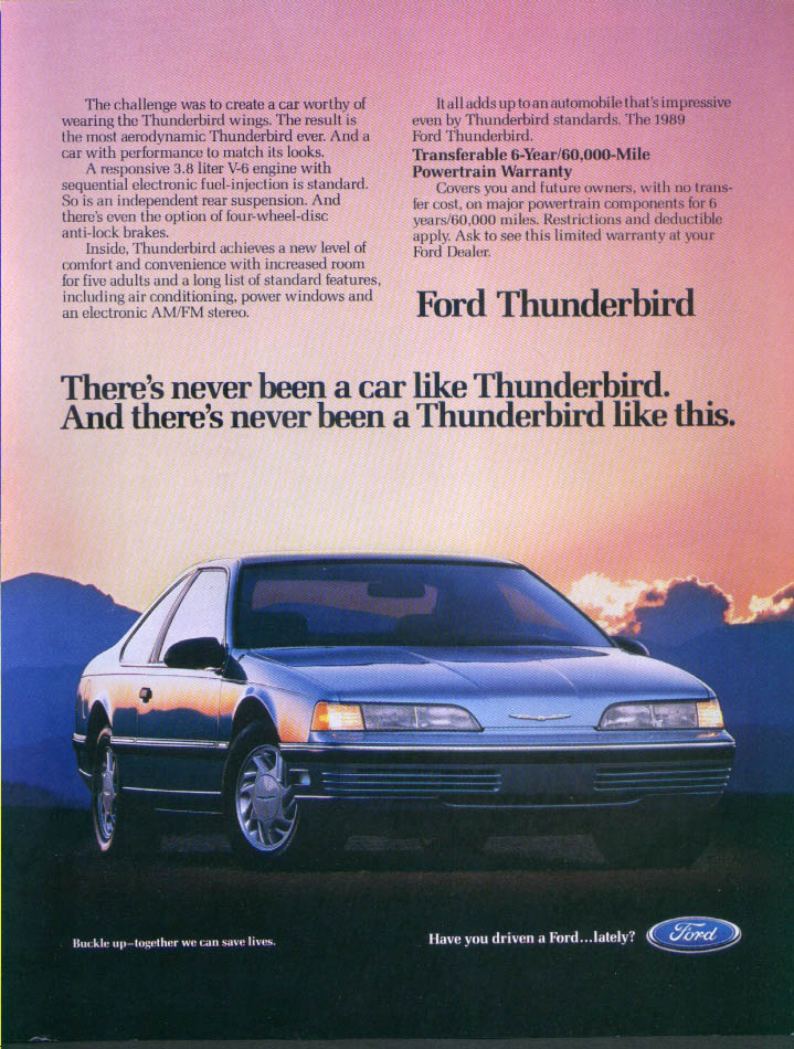 Image for Ford Thunderbird never been like this ad 1989