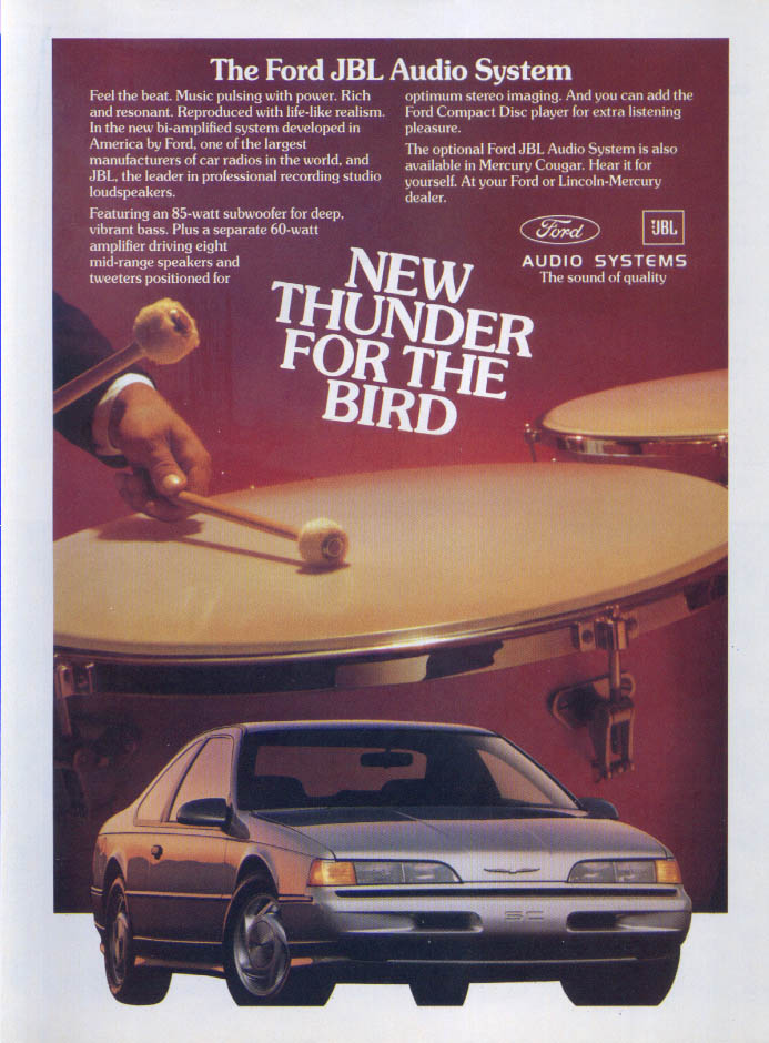 Image for Ford Thunderbird JBL Audio New Thunder ad 1989