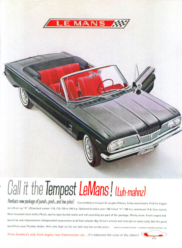 Image for Call it LeMans! Pontiac Tempest convertible ad 1962