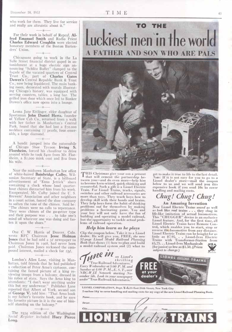 Lionel Electric Trains Luckiest men in world ad 1933