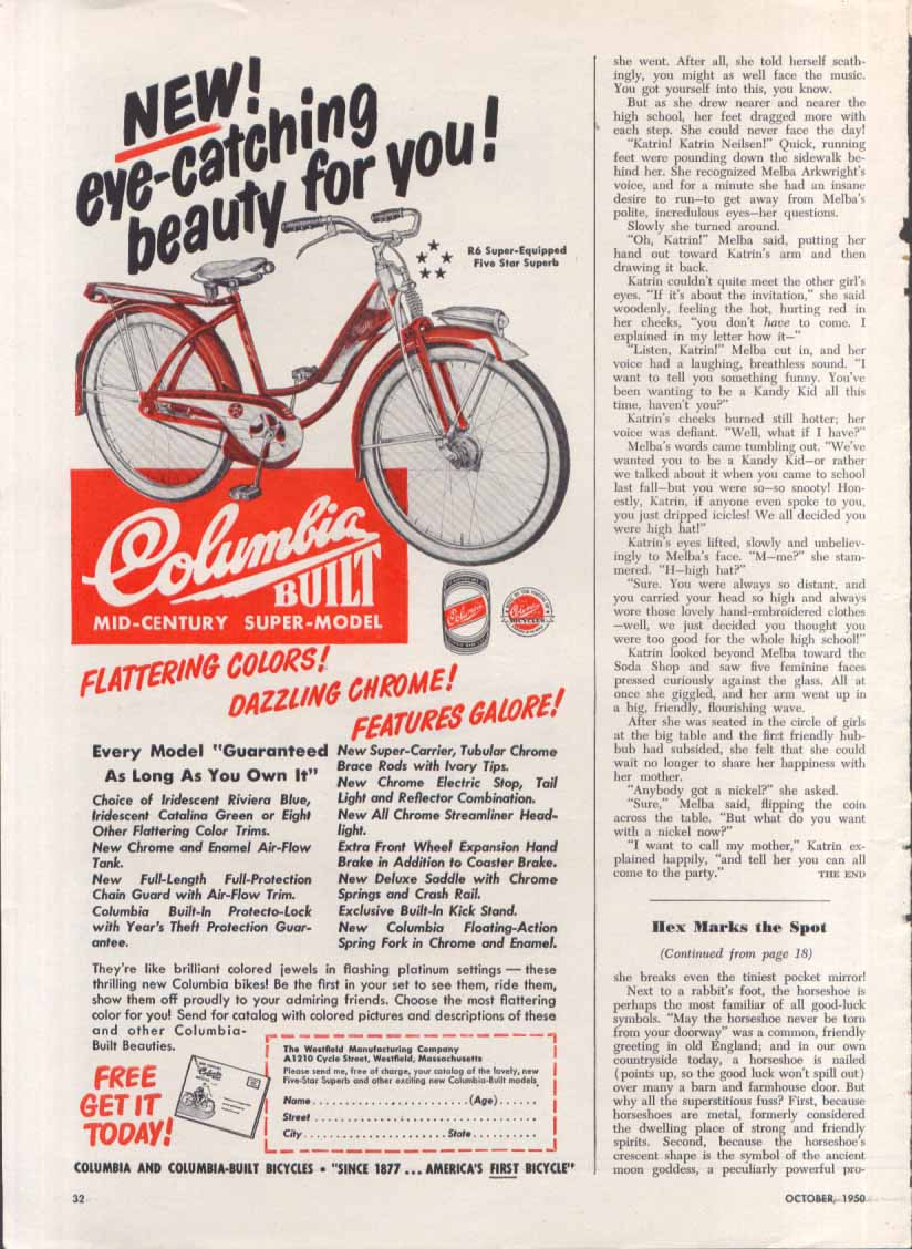 Image for Columbia Built R6 Bicycle ad 1950