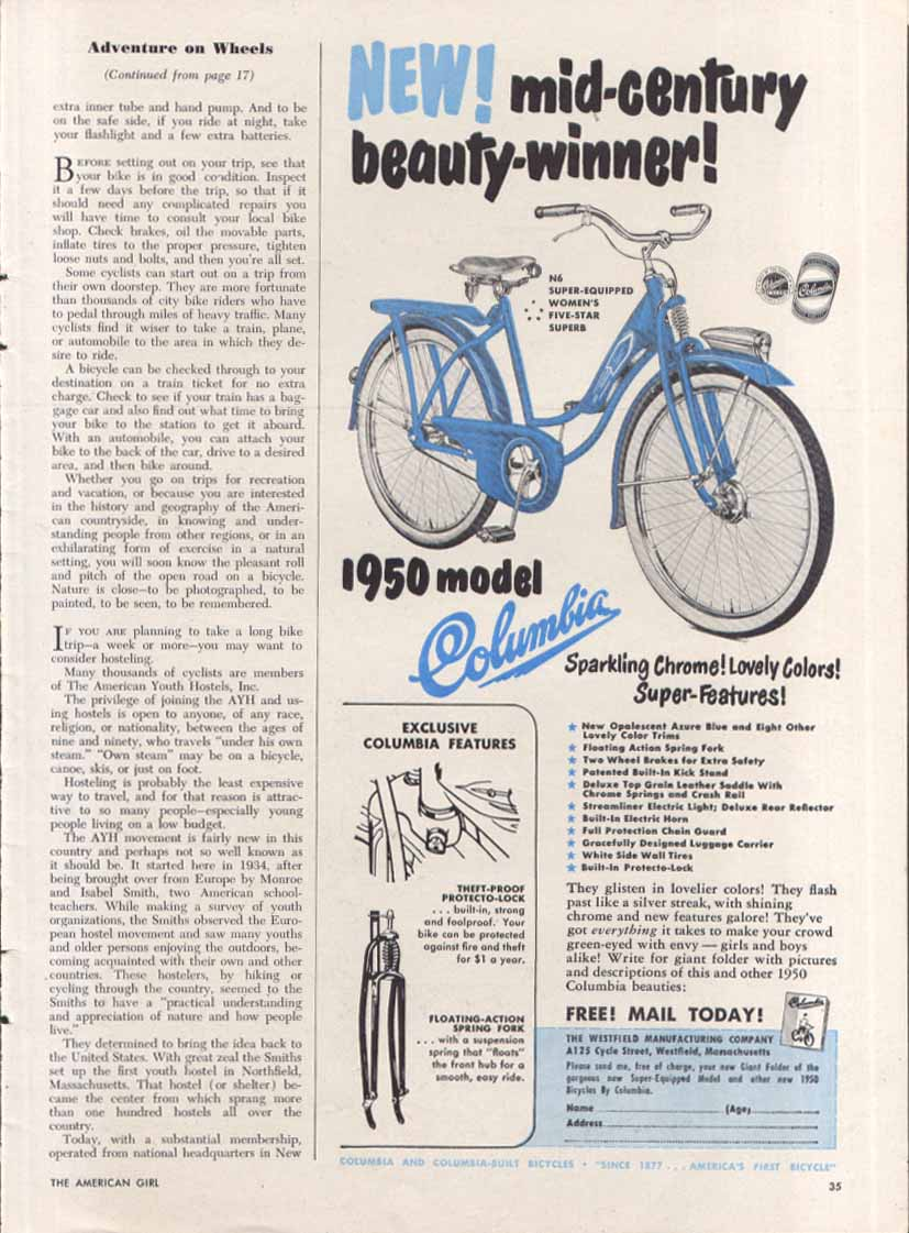 Image for Columbia Bicycle mid-century beauty-winner ad 1950