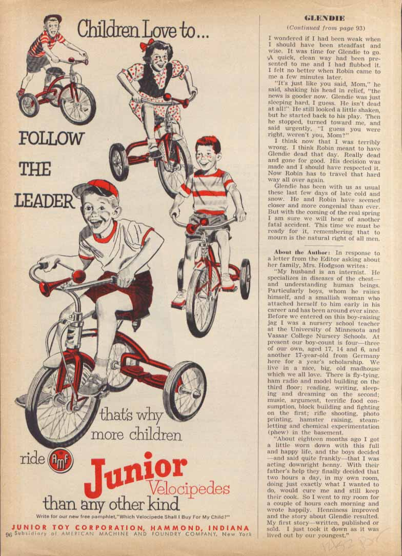 "Image for Junior Velocipedes ""follow the leader"" tricycle ad 1952"