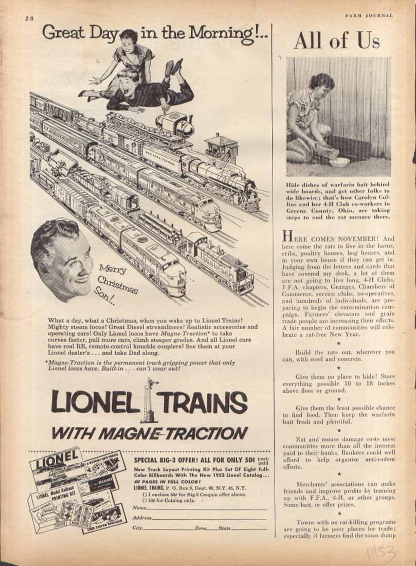 Lionel Magne-Traction toy train ad 1953