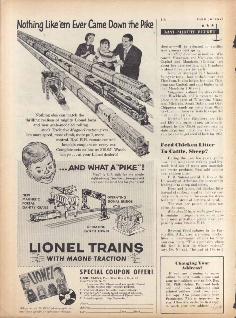 "Lionel ""and what a pike!"" toy train ad 1954"