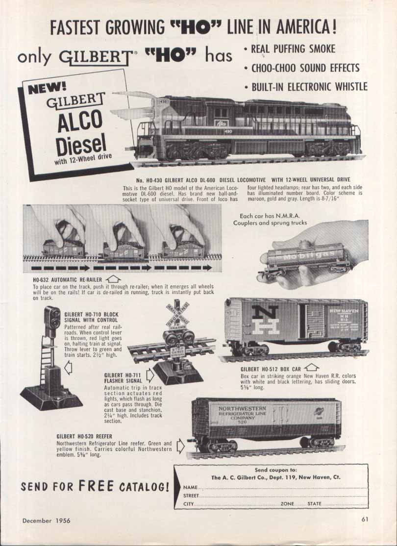 Gilbert ALCO Diesel HO toy trains ad 1956