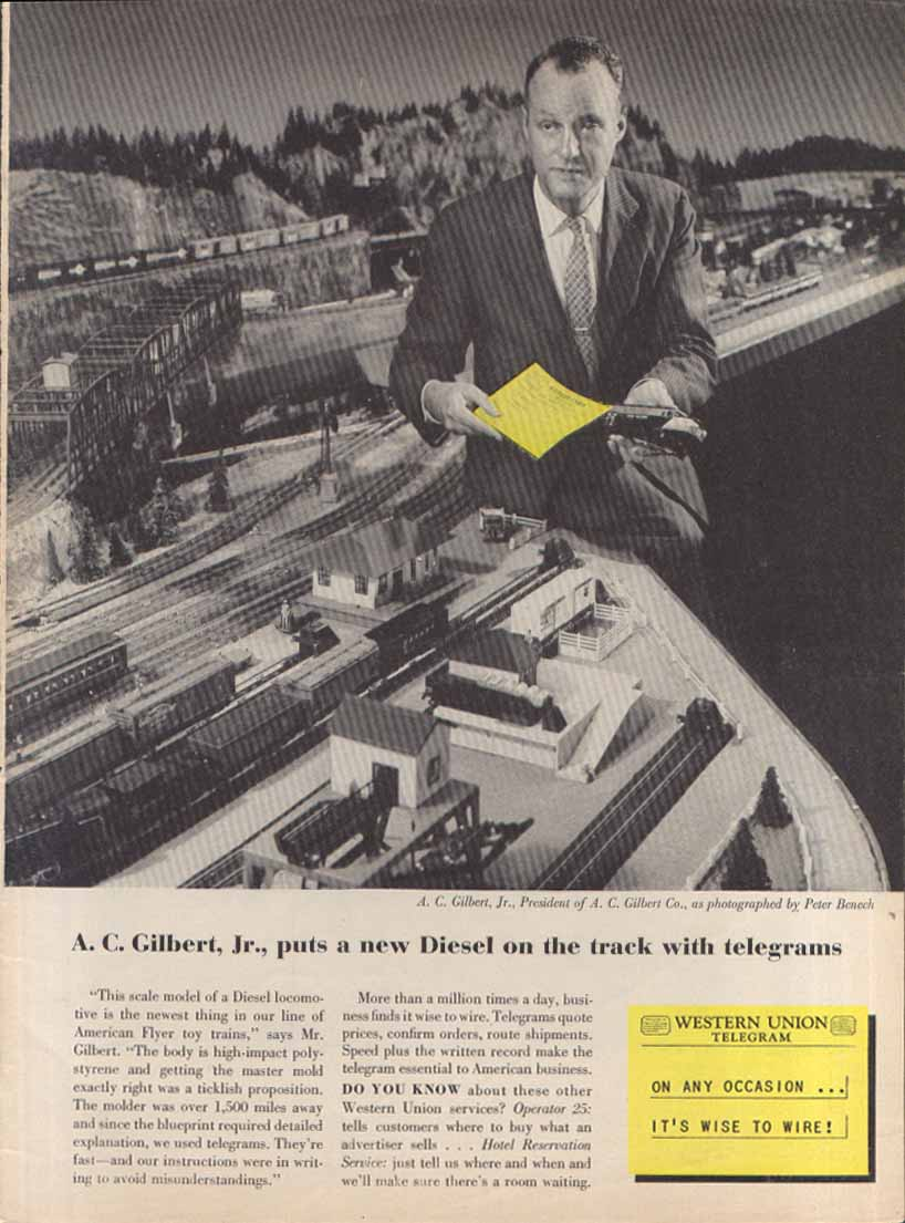 Gilbert Diesel toy train Western Union telegram ad 1956