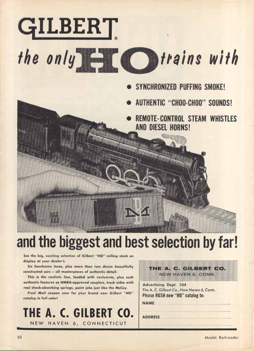 Gilbert HO electric trains ad 1957