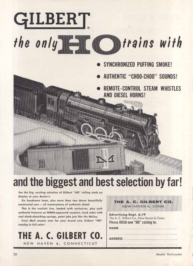 Gilbert HO train puffing smoke real sounds toy ad 1957