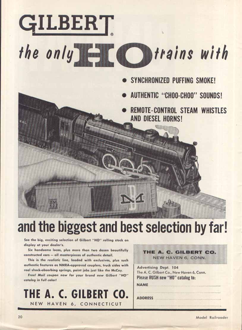 Gilbert HO biggest best selection toy train ad 1957
