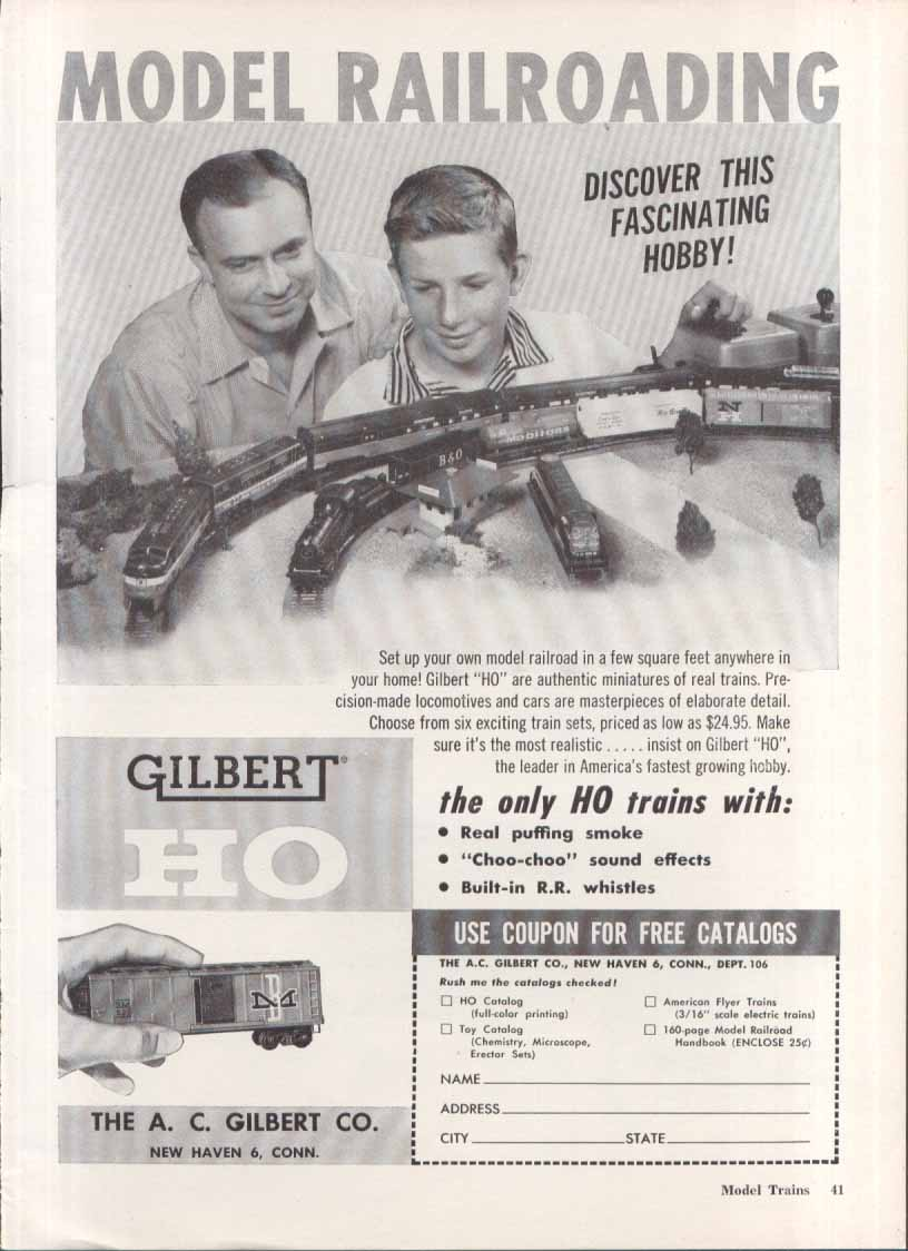 Gilbert HO authentic miniature model trains ad 1958