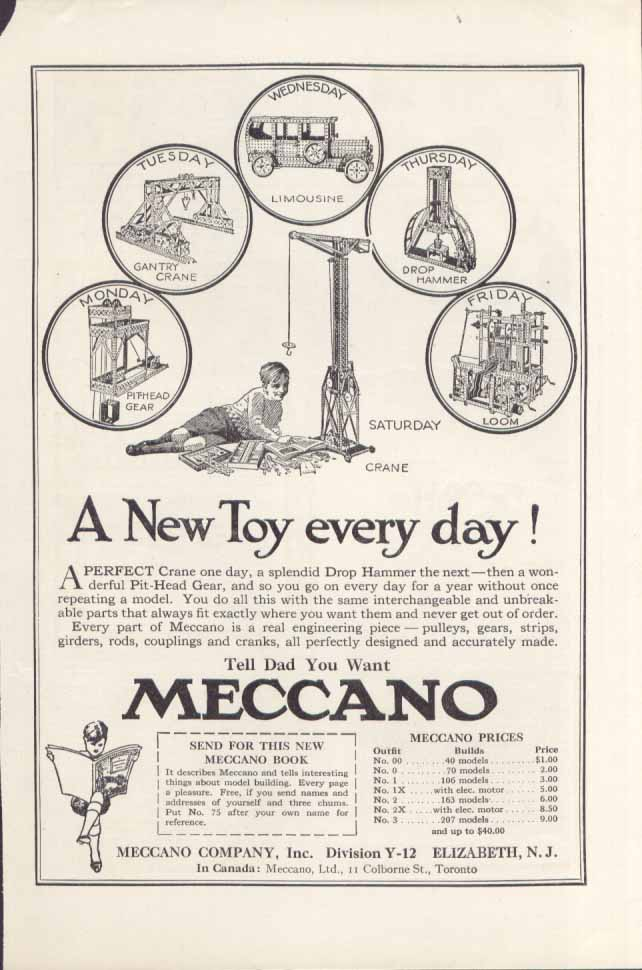 A New Toy every Day! Meccano set ad 1923