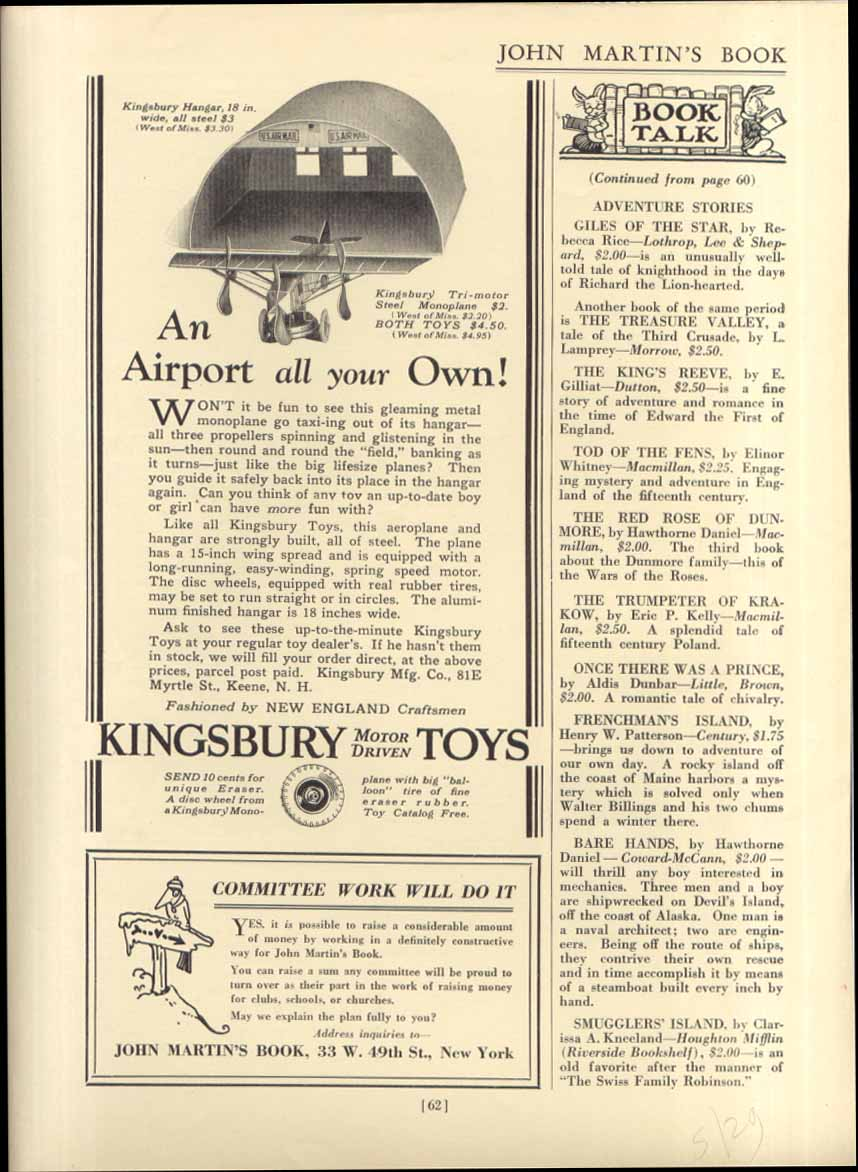 An Airport All Your Own Kingsbury Toys ad 1929