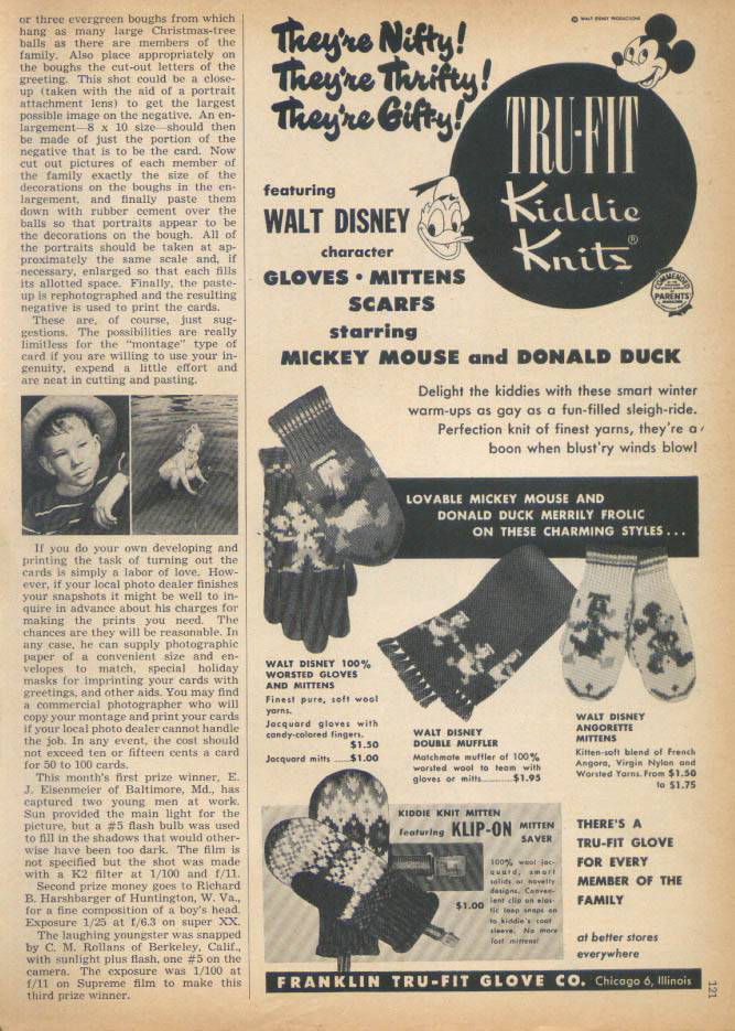 Image for Walt Disney Tru-Fit Kiddie Knits glove scarf +  ad 1950