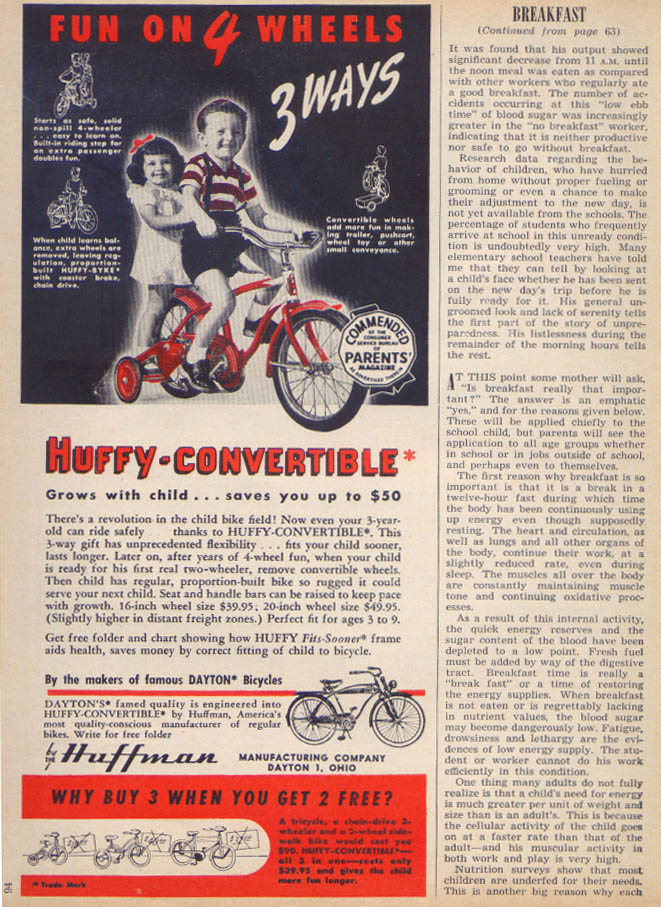 Huffy-Convertible training wheel bicycle ad 1950