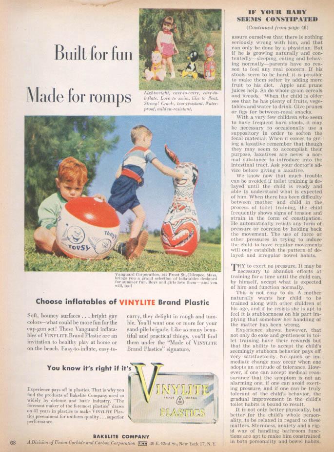 Image for Vanguard Plastic Inflatable toys Vinylite ad 1952