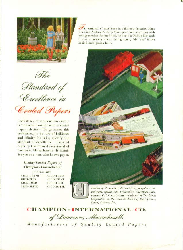 Lionel Trains in Champion-International Paper ad 1952