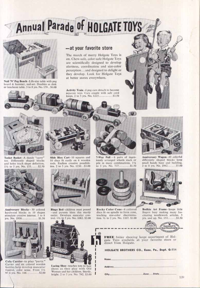 Annual Parade of Holgate Toys train wagon shoe ad 1954