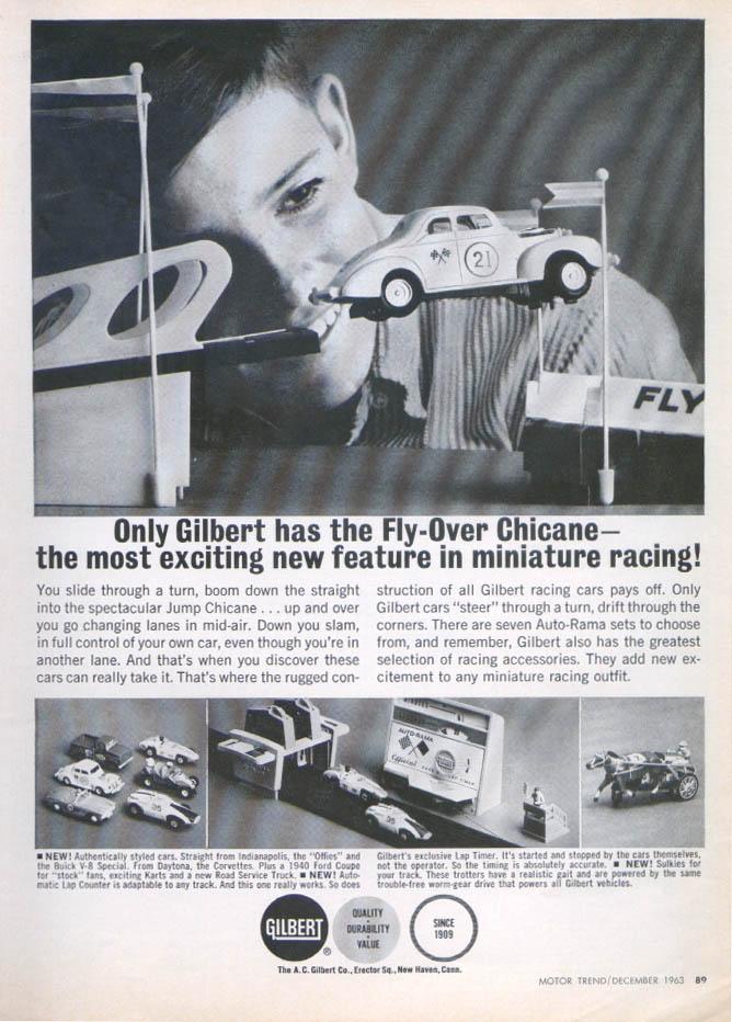 Image for Gilbert Auto-Rama Fly-Over Chicane racing set ad 1963