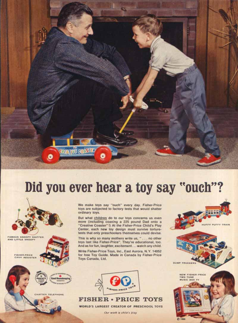 A toy say ouch? Fisher-Price coaster toy ad 1966