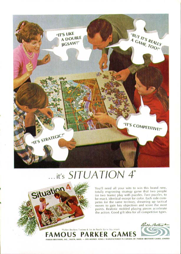 Parker Brothers Situation 4 Puzzle Game ad 1968