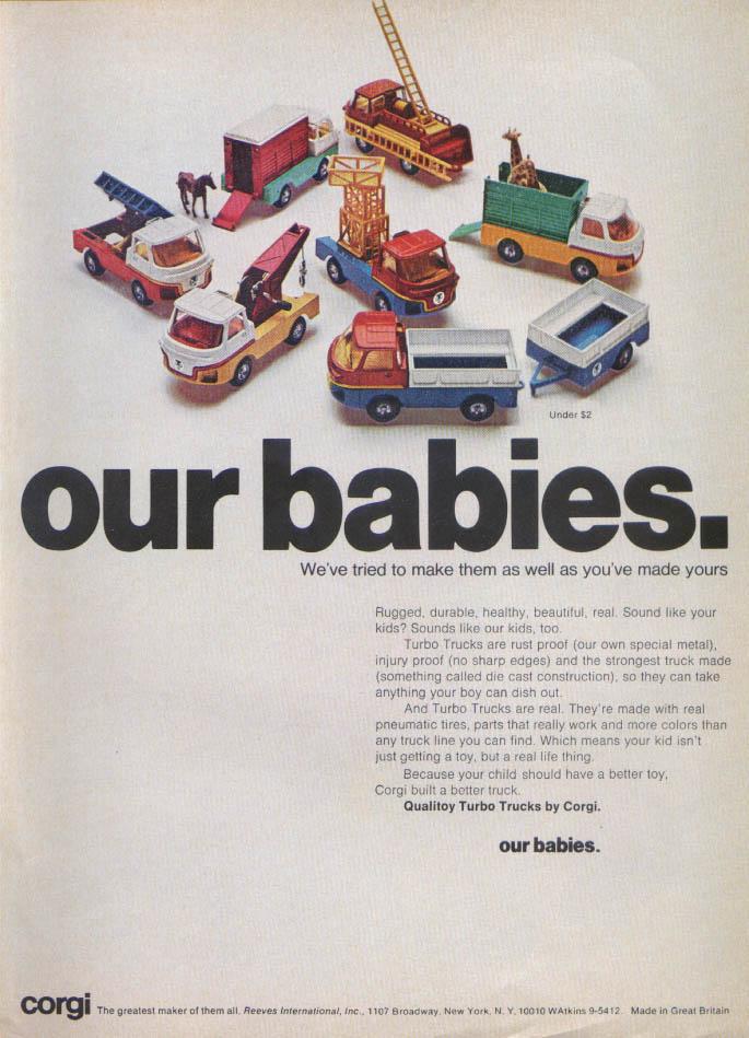 Image for Our Babies. Corgi Qualitoy Turbo Trucks ad 1969