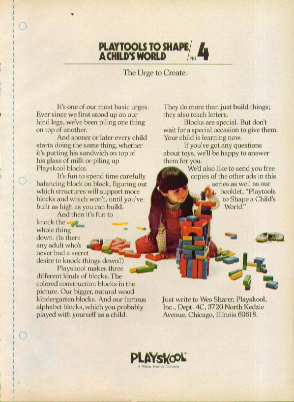 Toys to shape a child's world Playskool Blocks ad 1973