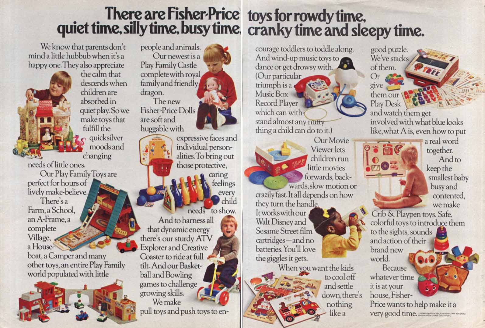 Fisher-Price quiet rowdy silly cranky time toy ad 1974