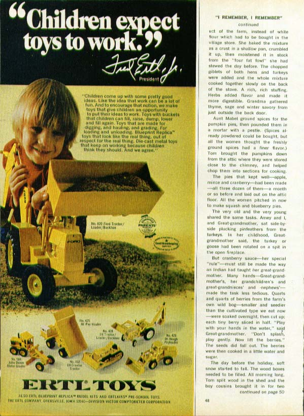 Children expect toys to work Ertl Backhoe ad 1974