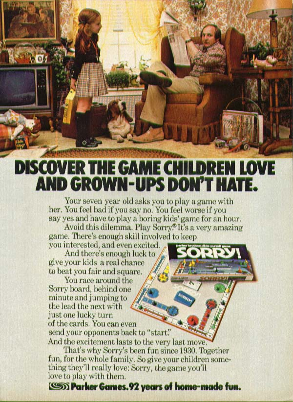 Children love Grown-ups don't hate Sorry game ad 1975