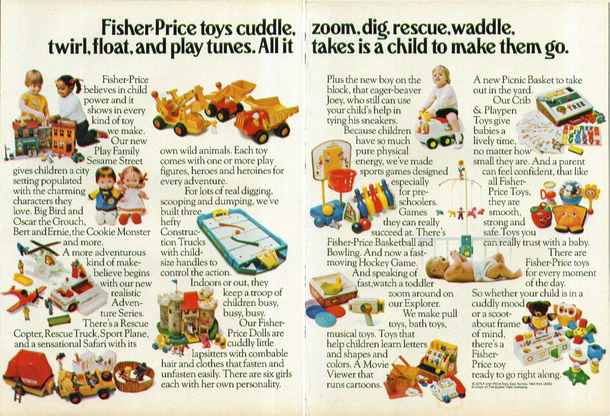 Fisher-Price toys cuddle twirl float play tunes ad 1975