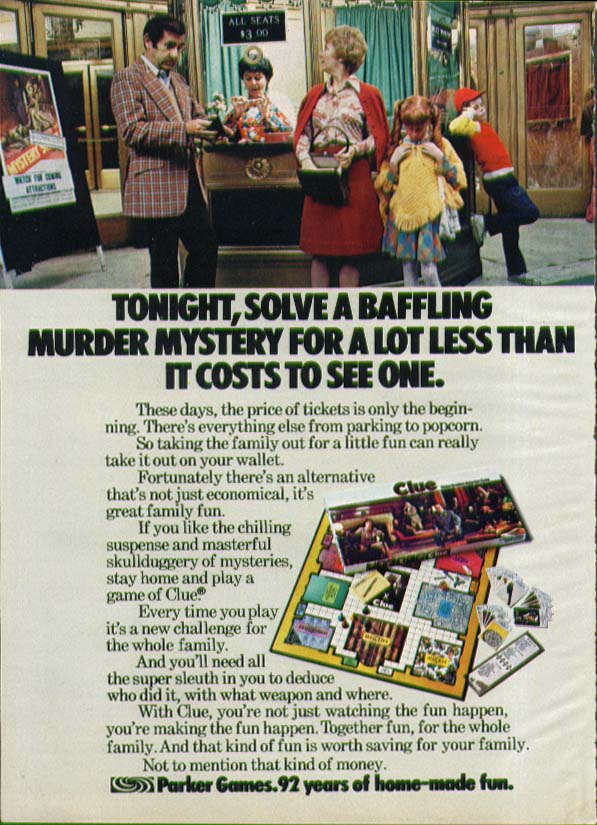 Solve a baffling mystery Parker Bros Clue Game ad 1975