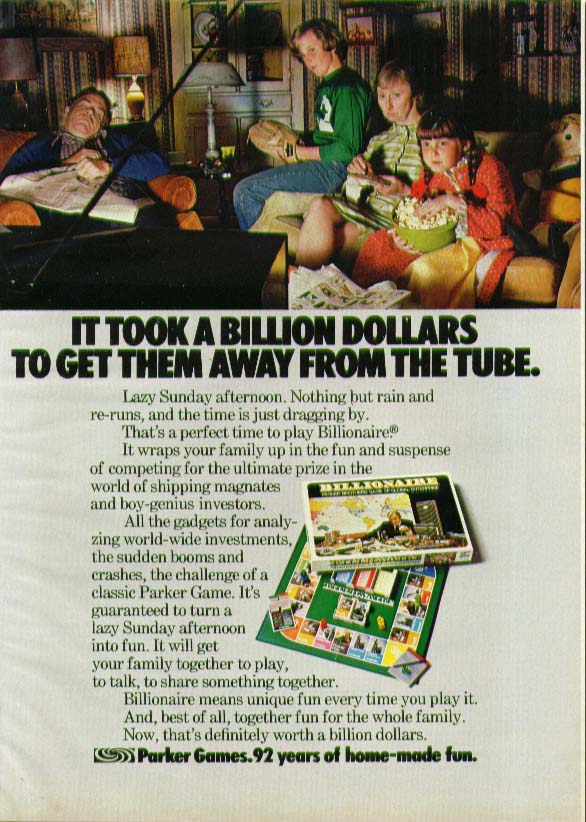 Parker Brothers Billionaire Board Game ad 1975