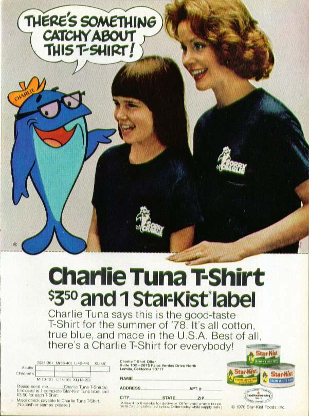 Charlie Tuna T-Shirt offer Star-Kist ad 1978