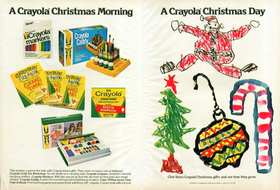 A Crayola Chrsitmas Day & Morning crayon ad  1978
