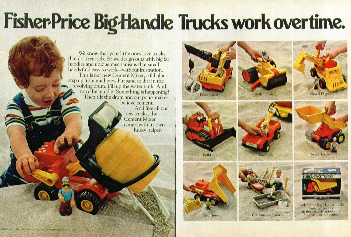 Fisher-Price Big-Handle Trucks work overtime 2-page ad 1978