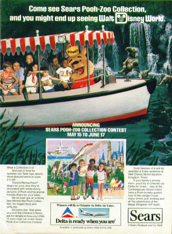 Sears Pooh-Zoo Collection Disney World Contest ad 1978