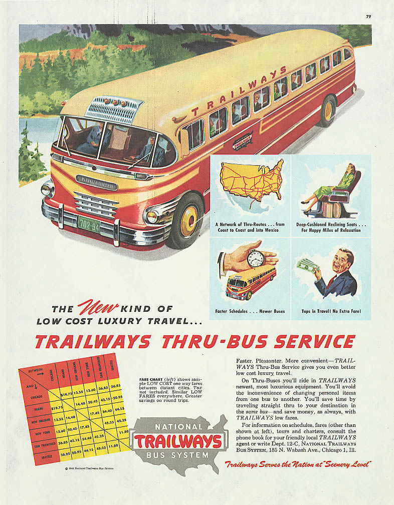 New kind of low cost luxury! 1948 Trailways bus ad