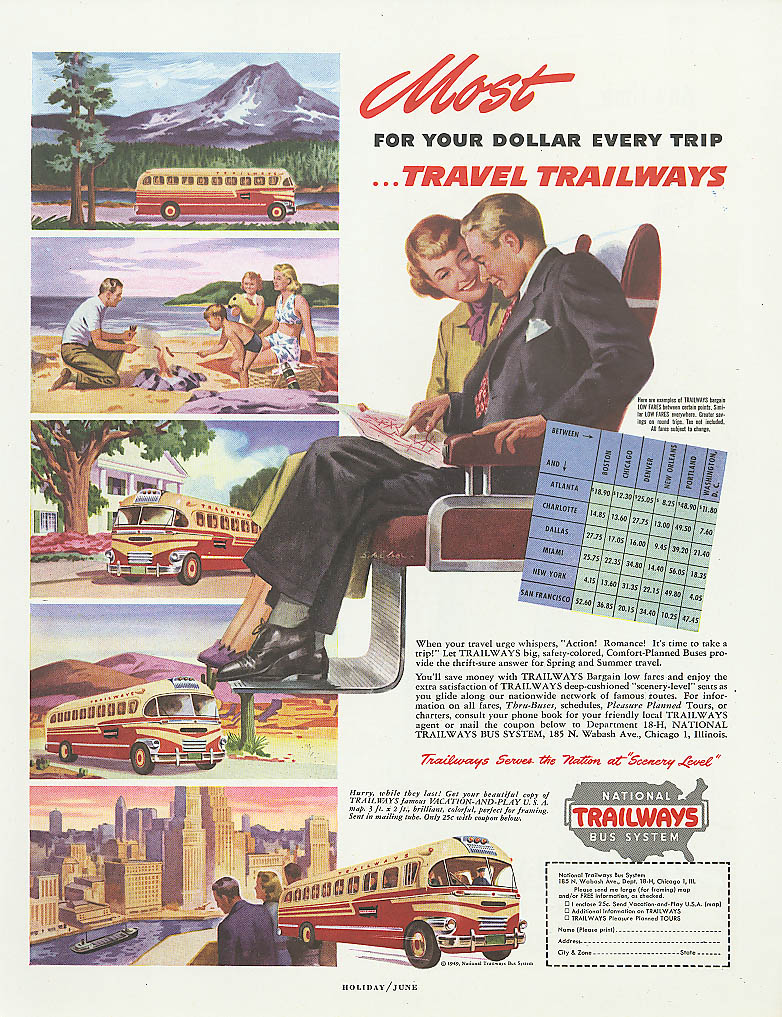 Most for your travel dollar! 1949 Trailways bus ad