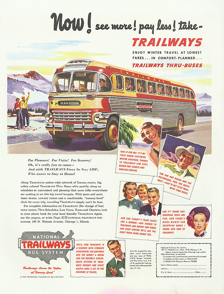 Now! See more! Pay less! 1950 Trailways bus ad