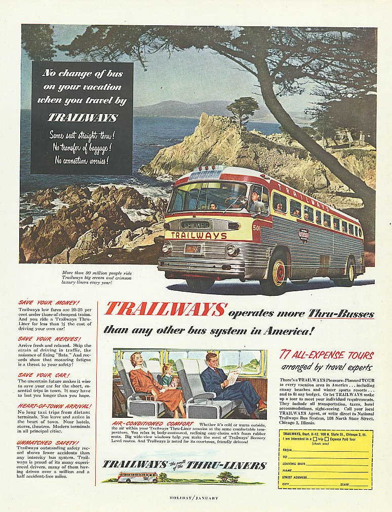 No change of bus on your vacation 1952 Trailways bus ad