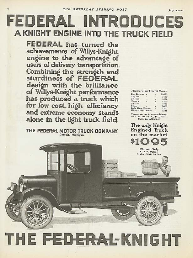 Image for Federal introduces: Federal-Knight Truck ad 1924
