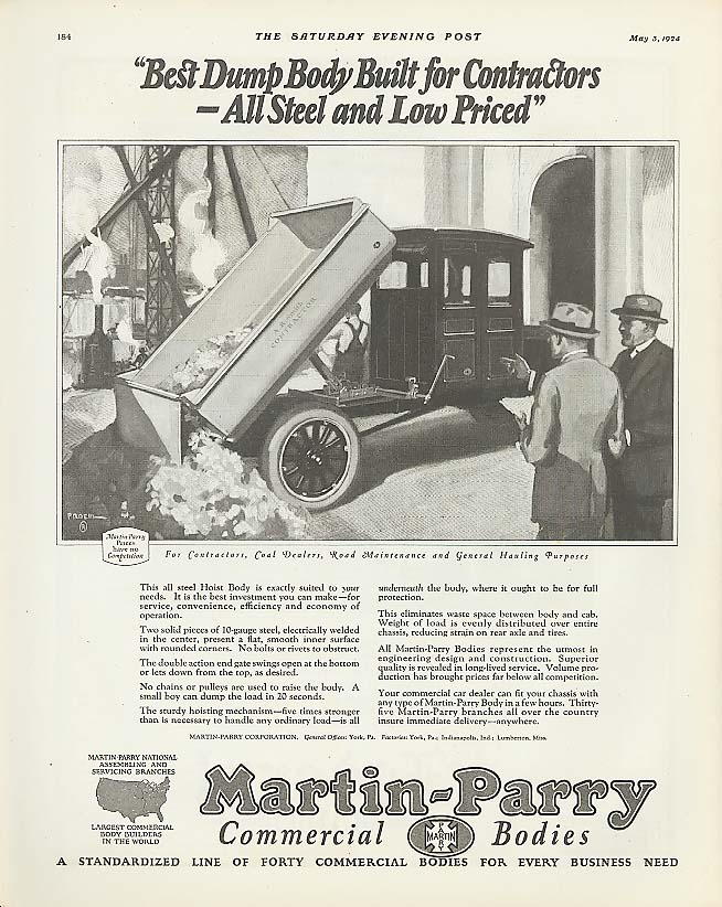 Best Dump Body Built: Martin-Parry Truck Body ad 1924