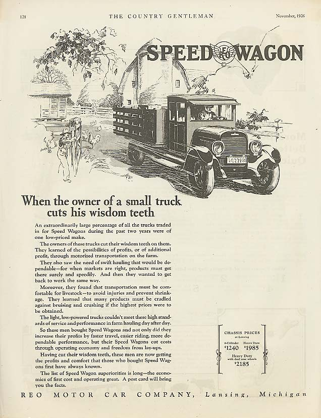 Image for Owner cuts his wisdom teeth Reo Speed-Wagon ad 1926